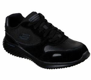 Skechers-Chaussures-Noires-Hommes-Memoire-Foam-Sport-Confort-Casual-Impermeable-Dentelle-52590