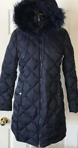 NWT-Womens-Kenneth-Cole-Reaction-Diamond-Quilted-Down-Hooded-Coat-Parka-Navy