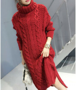 Lady-Cable-Knit-Jumper-Sweater-Dress-Chunky-Turtle-Neck-Knitted-Pullover-Retro