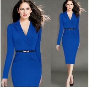 Elegant-Womens-OL-Business-Work-Office-Ladies-Solid-Party-Bodycon-Pencil-Dress