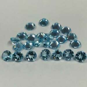 4mm AAA Blue Topaz Round Cut Stones Calibrated Sky Blue Topaz Round 100 Pieces Natural 4mm Sky Blue Topaz Faceted Round Loose Gemstones