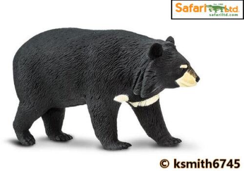 Safari Moon Bear solido in plastica giocattolo Wild Zoo Animale foresta nera nuovo
