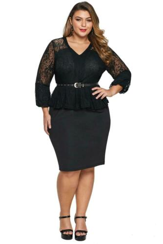 Negro Talla Plus Encaje Corpiño Peplum vestido con cinturón talla 18-30