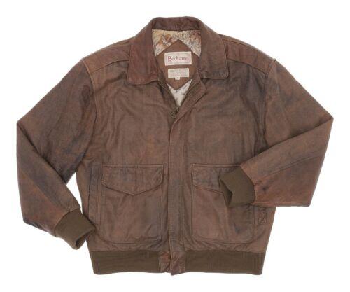 Vintage Leather BOMBER Jacket M Medium Mens Brown