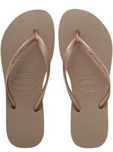 Havaianas Ladies Flip Flops Slim Beach Sandals All Size Black White Purple Green Rose Gold 6-6.5
