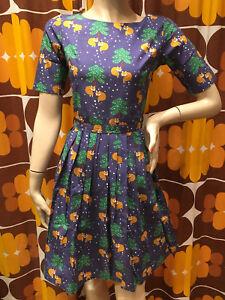 WOMENS RUN /& FLY Indie Retro Vintage 50/'s tea dress style flamingo print dress
