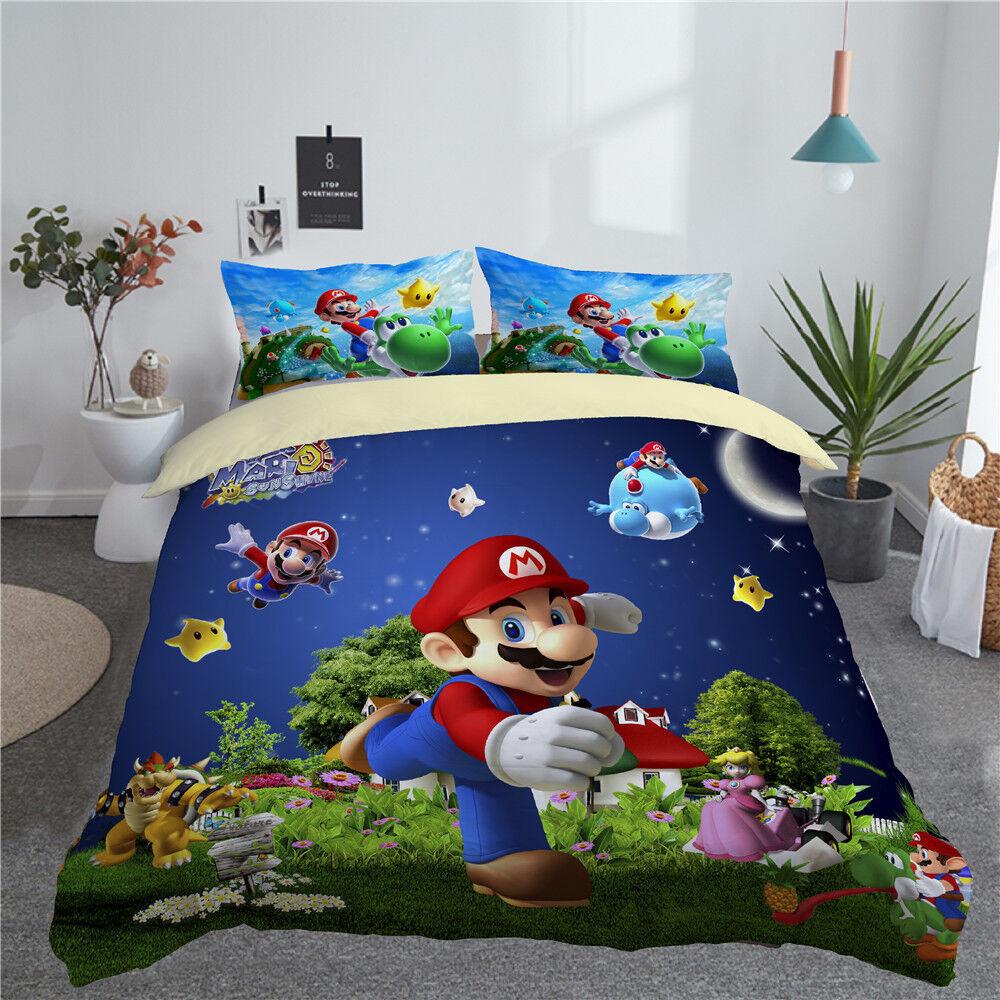 3D Sunshine Super Mario Galaxy Kids Bedding Quilt Duvet Doona Cover Pillowcase