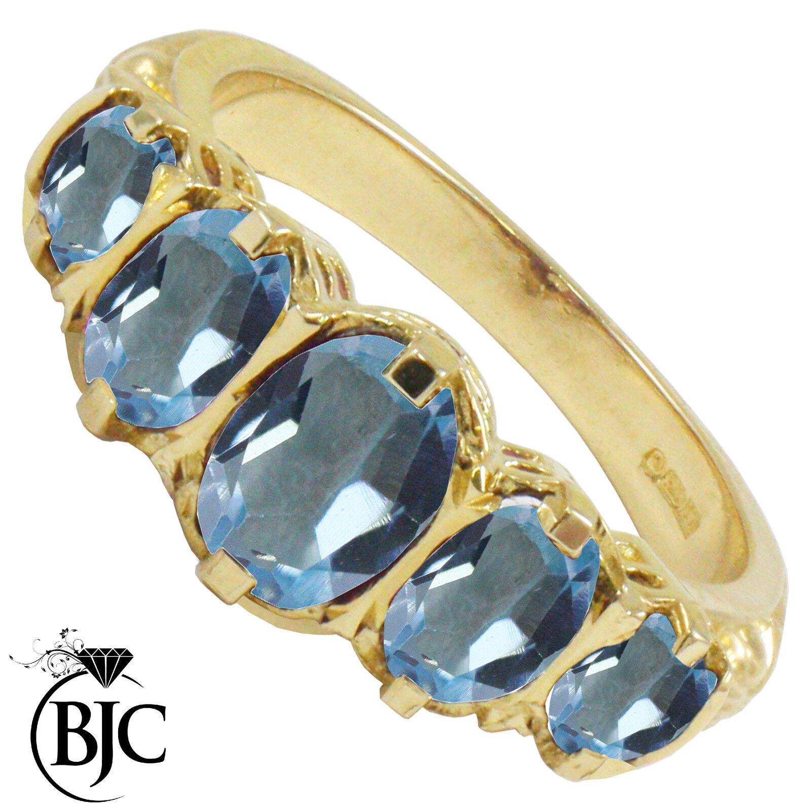 BJC® 9ct Yellow gold Victorian   Gypsy Style Graduating bluee Topaz 5 Stone Ring