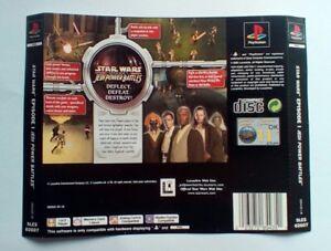 * Retour Inlay Seulement * Star Wars Jedi Power Battles Dos Inlay Ps1 Psone Playstation-afficher Le Titre D'origine