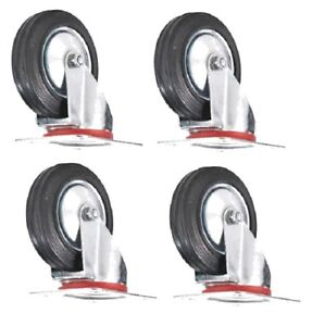 4 Pack 3 inch Swivel Caster Rubber Wheels Top Plate Bearing Heavy Duty
