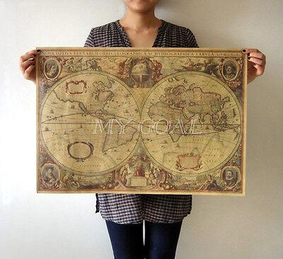 71x50cm Retro Vintage Globe Old World Map Matte Brown Paper Poster Home Decor