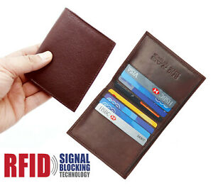 MENS RFID PROOF LEATHER ULTRA SLIM CREDIT CARD HOLDER NOTE CASE WALLET BROWN 122