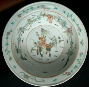 Jatte-saladier-porcelaine-famille-verte-Chine-Old-chinese-large-bowl-Qing-XIX
