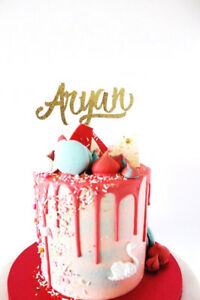 Image Is Loading Personalised Gold Glitter Card Name Birthday Cake Topper