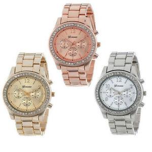 Damen-Armbanduhr-Edelstahl-Armband-Uhr-Damenuhr-Chronograph-Quarz-Strass-Uhren