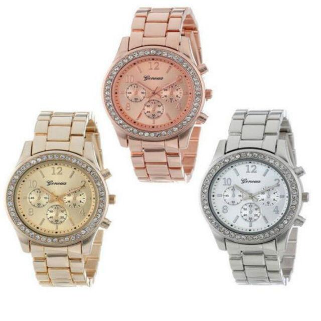 Damen Armbanduhr Edelstahl Armband Uhr Damenuhr Chronograph Quarz Strass Uhren