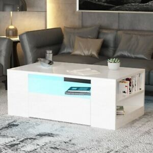 Details About Modern High Gloss Living Room Coffee Tea Table Solid Wood With Led Storage Shelf
