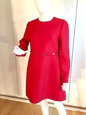 VALENTINO  Long Seeve Cotout-Waist W/Bows Red Dress,size 10