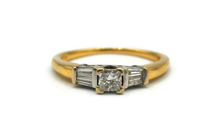 14K Yellow gold Round Baguette Diamond Solitaire Ring