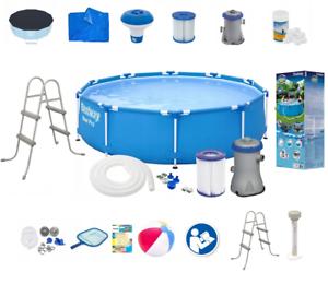 21in1-BestWay-SWIMMING-POOL-366cm-12FT-Ladder-PUMP-SET-Garden-Round-Pool