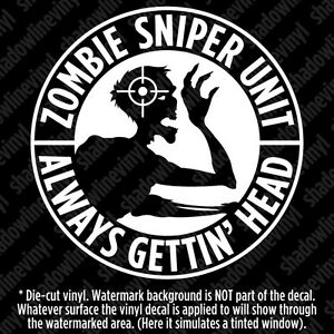 Zombie Sniper Response Team Unit Vinyl Decal Sticker Dead