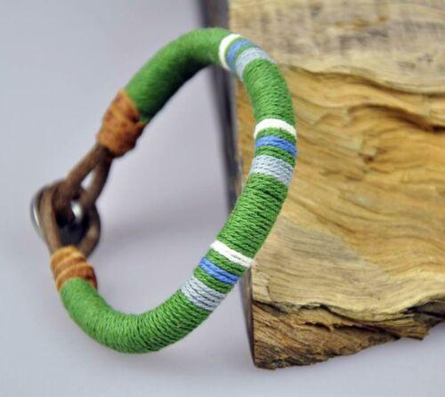 Classic Surfer Cotton Thread Wrap Leather Wristband Bracelet Cuff DARK GREEN