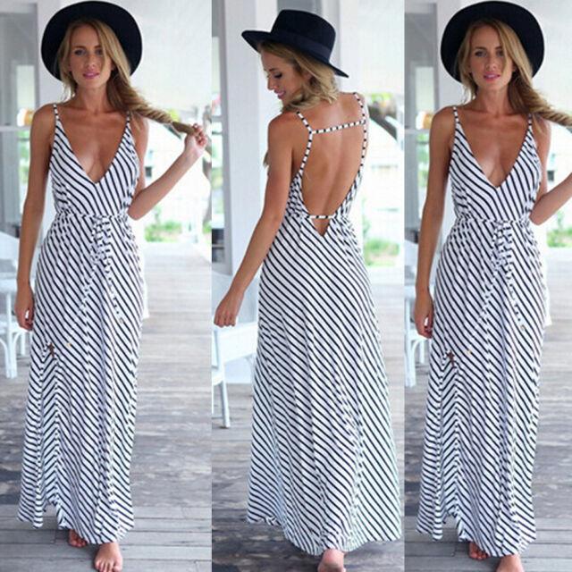 Summer Women Lady Lace Striped Beach Boho Maxi Sundress Long Dress Party Holiday