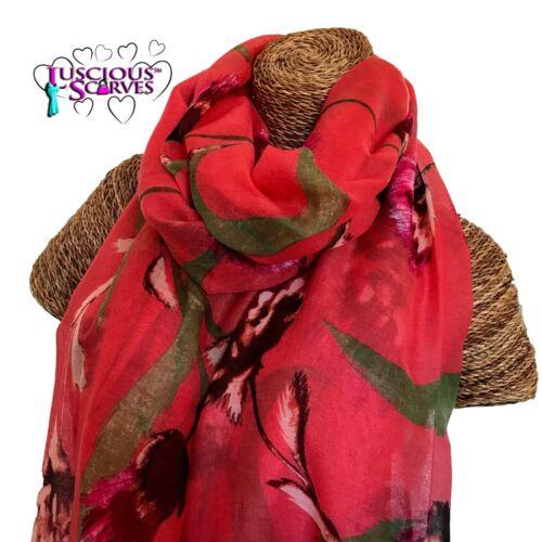 Chardon Imprimé écharpe corail avec Vert Rose /& Marron chardons Superbe Doux Qualité