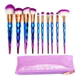 10pcs diamond unicorn makeup brushes set with case