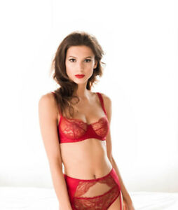 Fleur Of England Amour Lace Red Balcony Bra 34B /& 34E