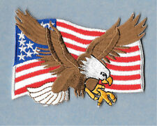 Eagle - American Eagle - Flag - USA  - Embroidered Iron On Applique Patch - B