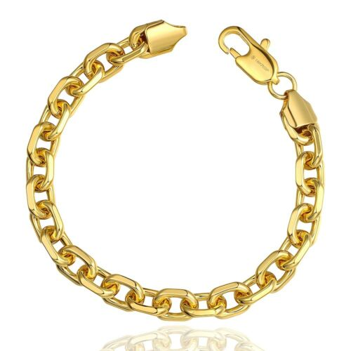 cuban 10k Men/'s Yellow Gold Palm Bracelet New Franco Rope