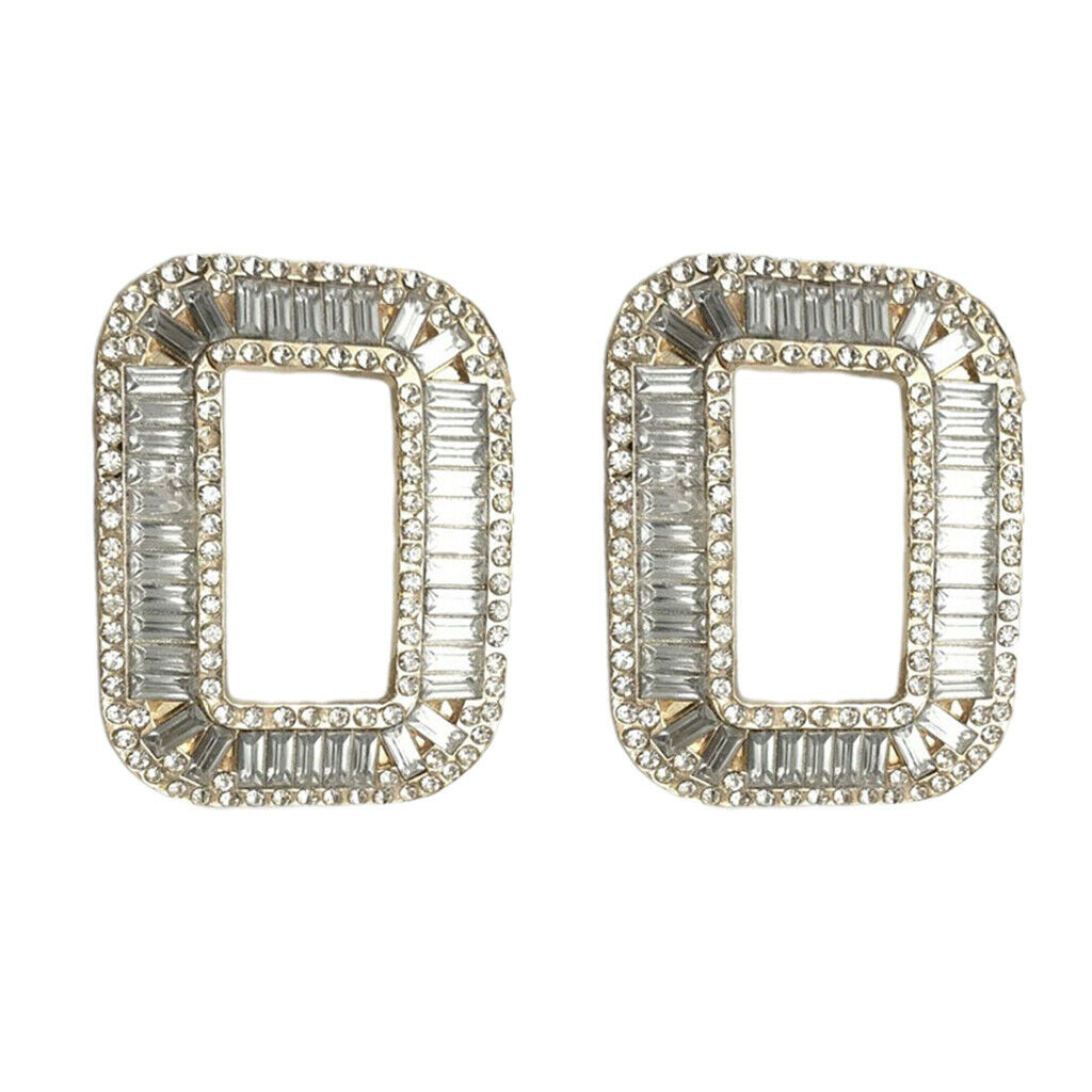 2x Womens Rhinestones Square Shoe Buckle Wedding Shoes Accessories Gold Tone
