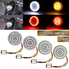4X 2inch Bullet-Style1157 LED White/Amber Turn Signal Running Lights For Harley
