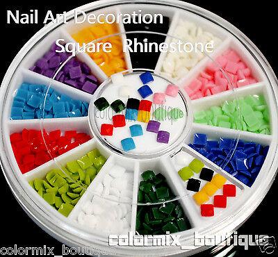 #R8  12 Color 3D Arcylic Nail Art Decoration (2.5 x 2.5mm)Square Rhinestones