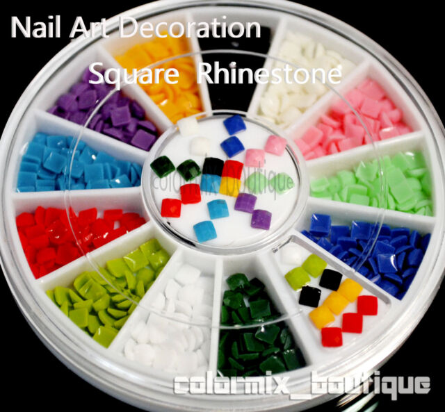 #R8  12 Color 3D Arcylic Nail Art Decoration (2.5 x 2.5mm)Square Rhinestones