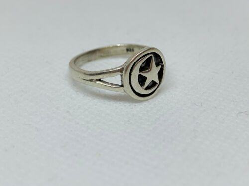 Fabolous Ottoman Crescent /& Star Ring 925 Silver Size Q~Q1//2 Wght 3.20 g #10241