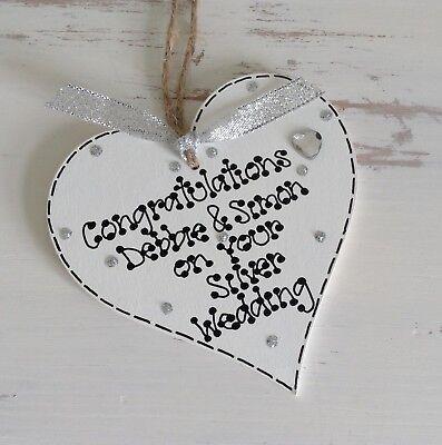 Personalised Silver 25th Wedding Anniversary Wooden Heart Gift Keepsake 10 x 10