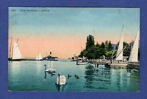 Al-CPA-Evian-les-Bains-gt-Le-Port-034-Cygnes-034-gt-Haute-Savoie-74