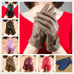 Gloves-Genuine-Lambskin-Leather-Women-039-s-Winter-Warm-Driving-Soft-Lining-Fashion