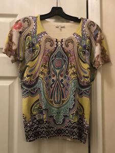 Etro Womens Paisley Silk Short Sleeve Knit Sweater Shirt Top Yellow Size IT44 M