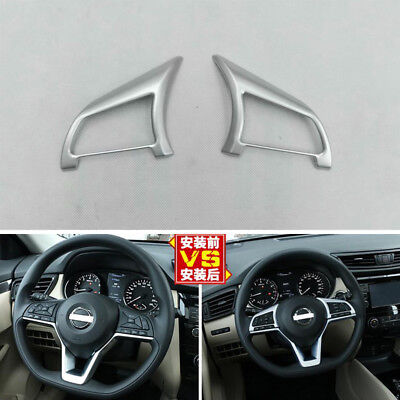 A Pair Chrome Plated Steering Wheel Button Trim For Nissan Rogue Sport 2017-2018