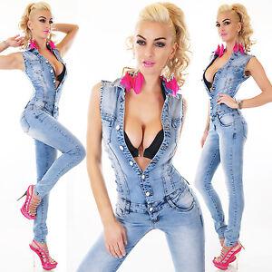 Women-039-s-Denim-Jumpsuit-Light-Blue-Wash-Skinny-Legs-Jeans-Overall-Catsuit-Sz-8-14