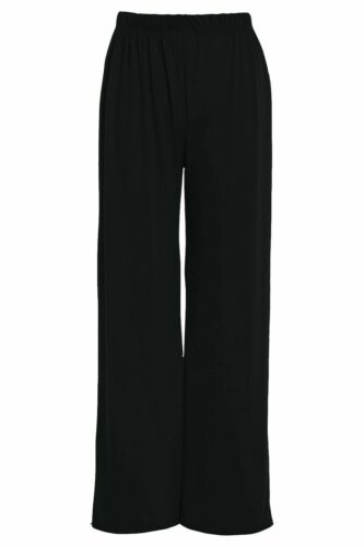 NEW Ladies Stretchy Office Work Pants Womens Carer Uniform Plazzo Trousers Black