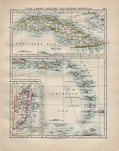 1902-MAP-CUBA-LESSER-ANTILLES-amp-BRITISH-HONDURAS-CARIBBEAN-SEA