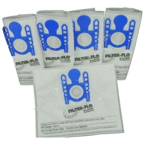 5 x sacchetti per aspirapolvere Bosch bsa2880gb//09 tipo G