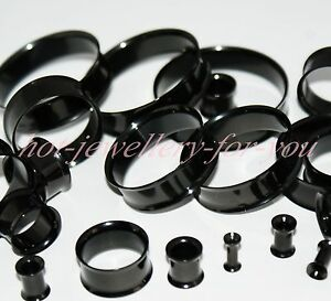 Black-Flesh-Tunnel-Ear-Plug-Double-Flared-Steel-Metal-Stretcher-3mm-40mm