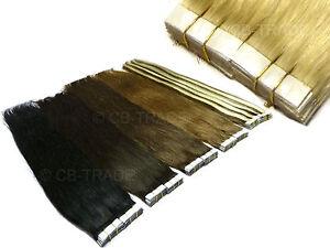 10-Echthaar-Tape-Extensions-70cm-glatt-zum-Kleben-35g