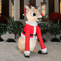 5.5' Airblown Rudolph In Santa Suit Light Up Inflatable Outdoor Christmas Decor