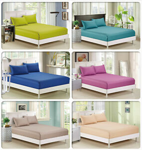 800TC-100-Pure-Cotton-3pc-Fitted-Sheet-Set-or-4pc-Sheet-Set-AU-Size-Bed-New